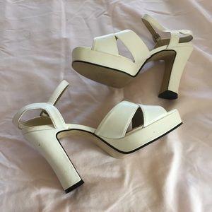 90's Chinese Laundry white chunky heeled sandals